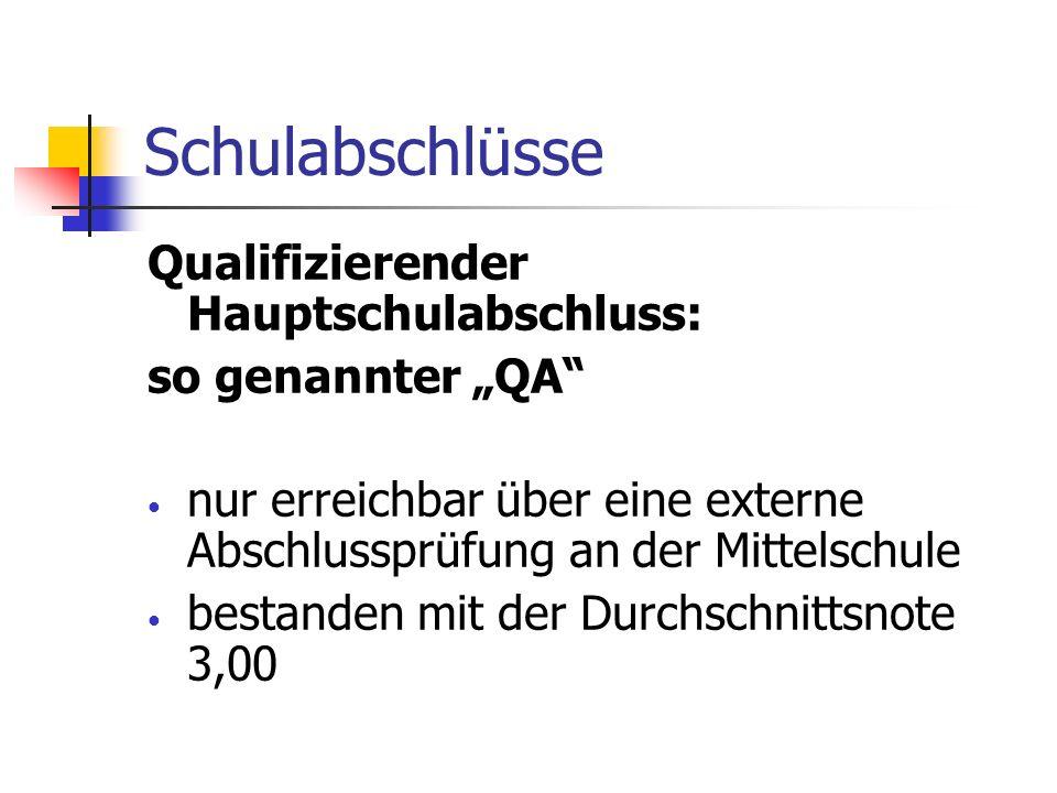 Schulabschlüsse Qualifizierender Hauptschulabschluss:
