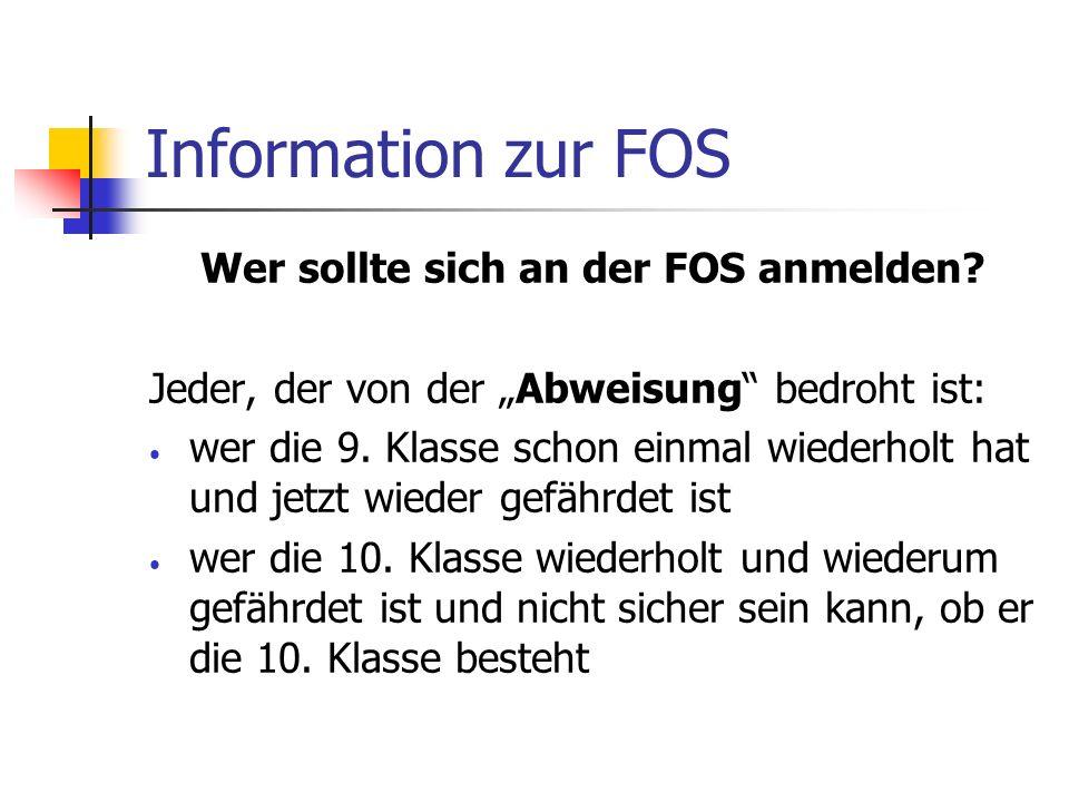 Wer sollte sich an der FOS anmelden