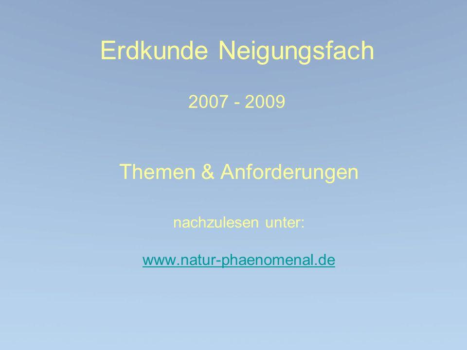 Erdkunde Neigungsfach 2007 - 2009