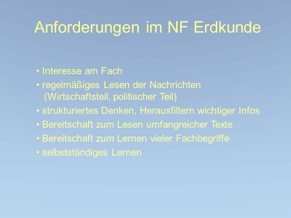 Anforderungen im NF Erdkunde