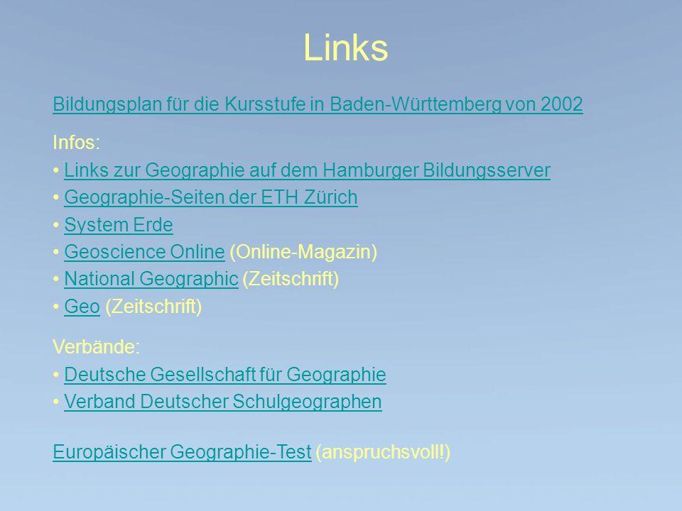 Links Bildungsplan für die Kursstufe in Baden-Württemberg von 2002