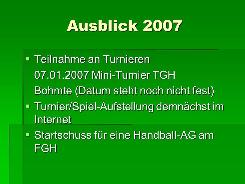 Ausblick 2007 Teilnahme an Turnieren 07.01.2007 Mini-Turnier TGH