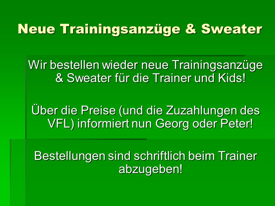 Neue Trainingsanzüge & Sweater