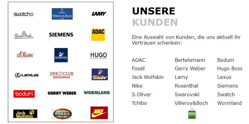 UNSERE KUNDEN Eine Auswahl von Kunden, die uns aktuell ihr Vertrauen schenken: ADAC Bertelsmann Bodum.