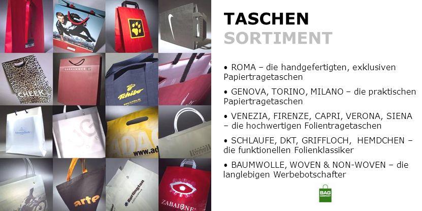 TASCHEN SORTIMENT ROMA – die handgefertigten, exklusiven Papiertragetaschen. GENOVA, TORINO, MILANO – die praktischen Papiertragetaschen.