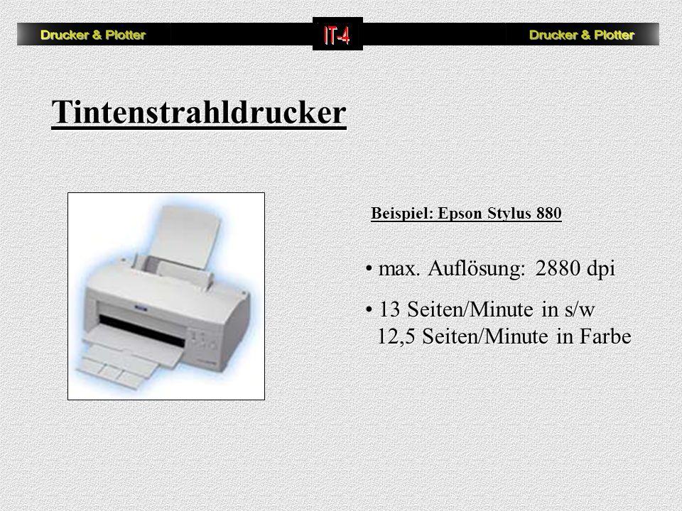 Tintenstrahldrucker max. Auflösung: 2880 dpi 13 Seiten/Minute in s/w