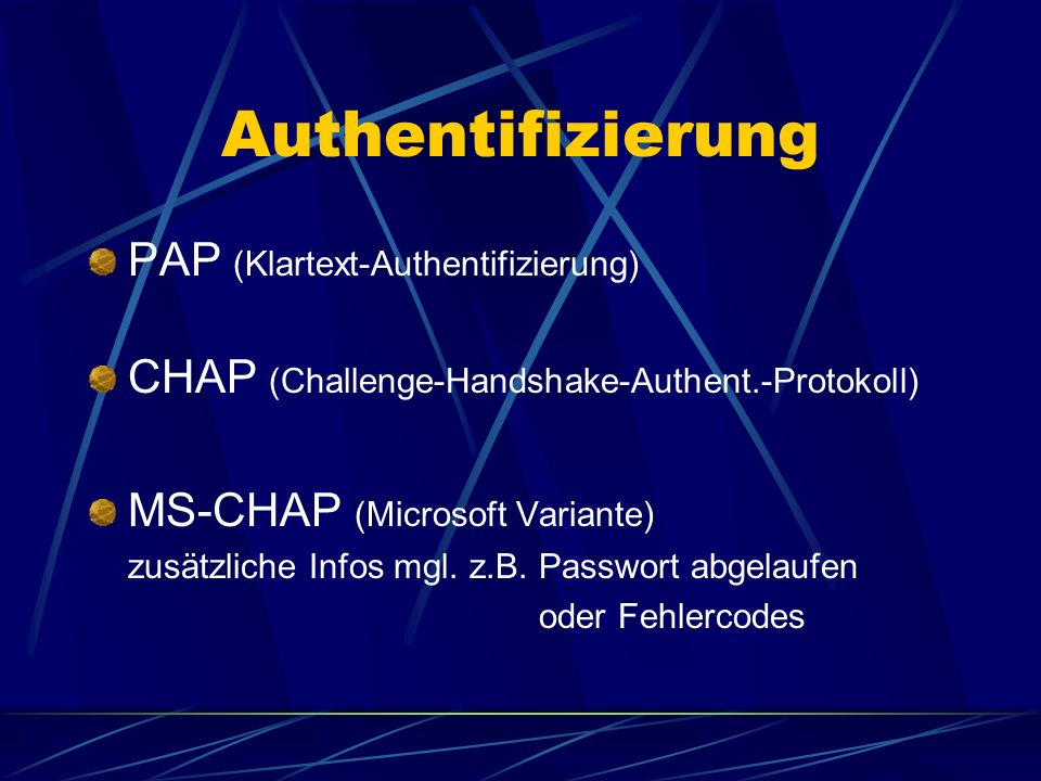 Authentifizierung PAP (Klartext-Authentifizierung)