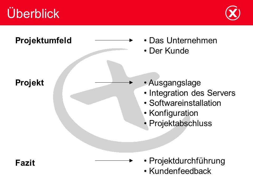 Überblick Projektumfeld Das Unternehmen Der Kunde Projekt Ausgangslage