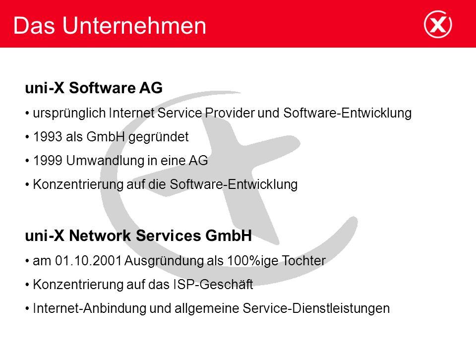 Das Unternehmen uni-X Software AG uni-X Network Services GmbH