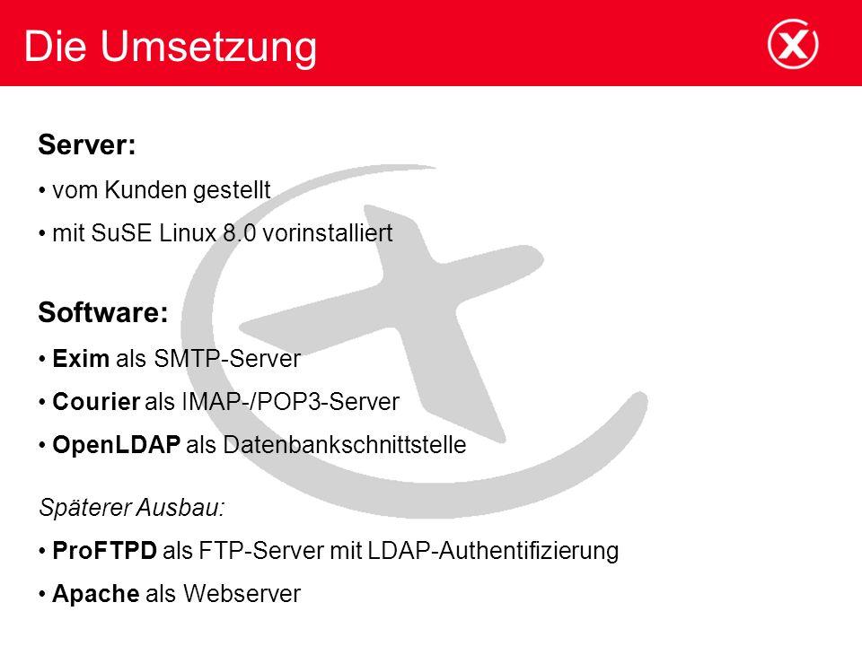 Die Umsetzung Server: Software: vom Kunden gestellt