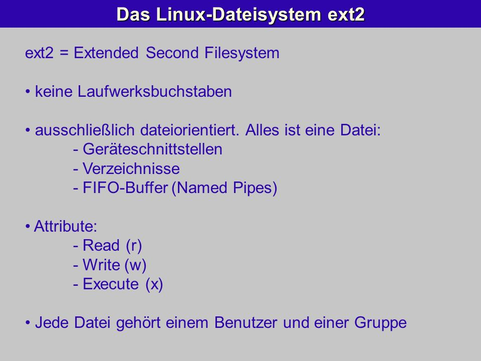 Das Linux-Dateisystem ext2