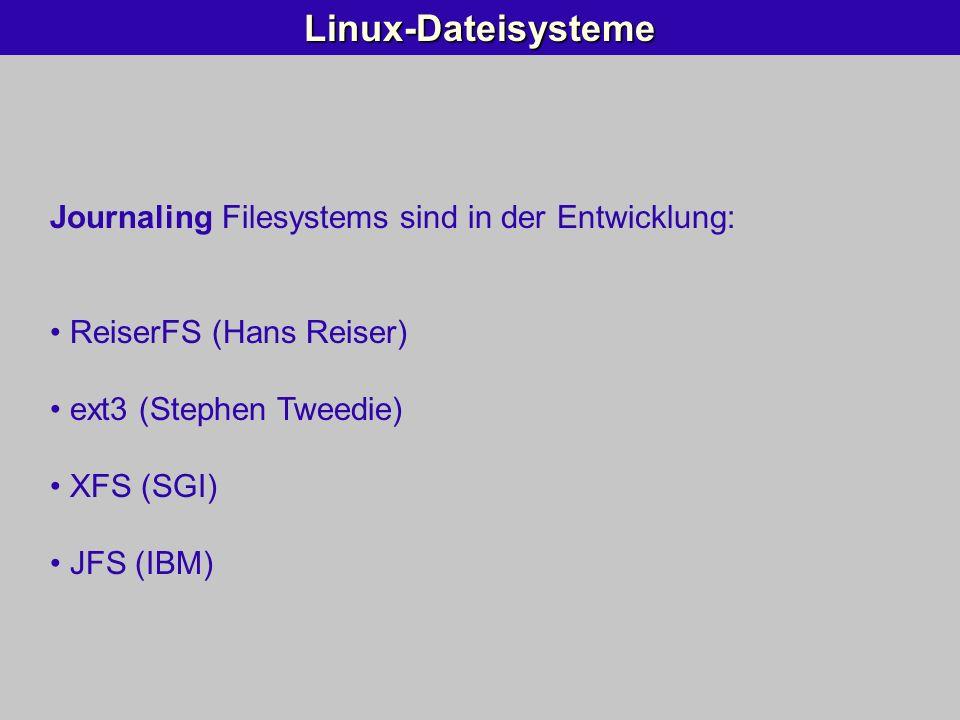 Linux-Dateisysteme Journaling Filesystems sind in der Entwicklung: