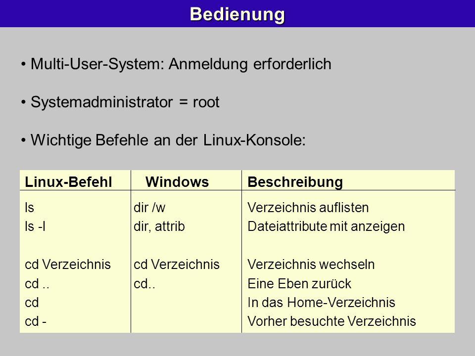 Bedienung Multi-User-System: Anmeldung erforderlich