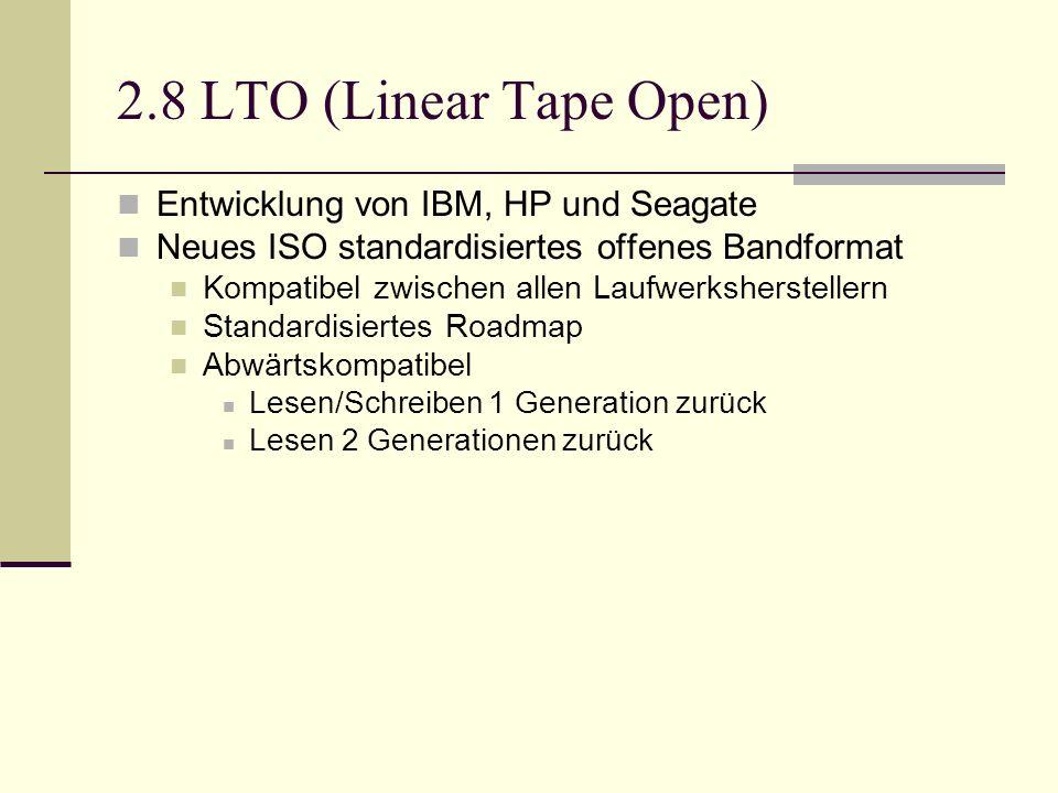 2.8 LTO (Linear Tape Open) Entwicklung von IBM, HP und Seagate