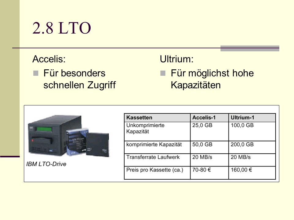 2.8 LTO Accelis: Für besonders schnellen Zugriff Ultrium: