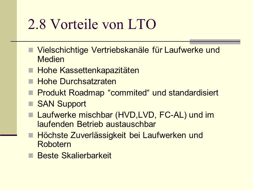 2.8 Vorteile von LTO Vielschichtige Vertriebskanäle für Laufwerke und Medien. Hohe Kassettenkapazitäten.