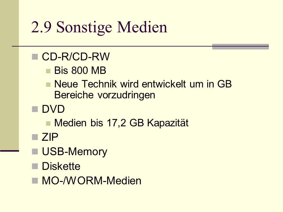 2.9 Sonstige Medien CD-R/CD-RW DVD ZIP USB-Memory Diskette