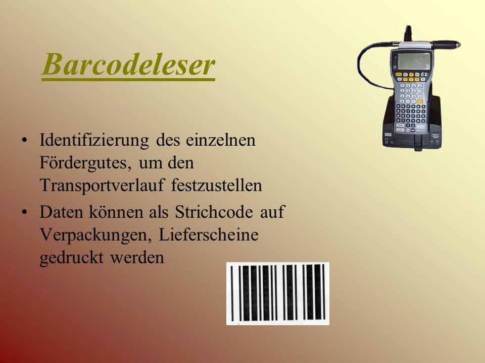 Barcodeleser Identifizierung des einzelnen Fördergutes, um den Transportverlauf festzustellen.