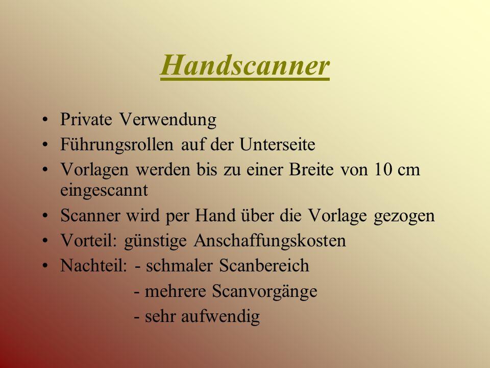 Handscanner Private Verwendung Führungsrollen auf der Unterseite