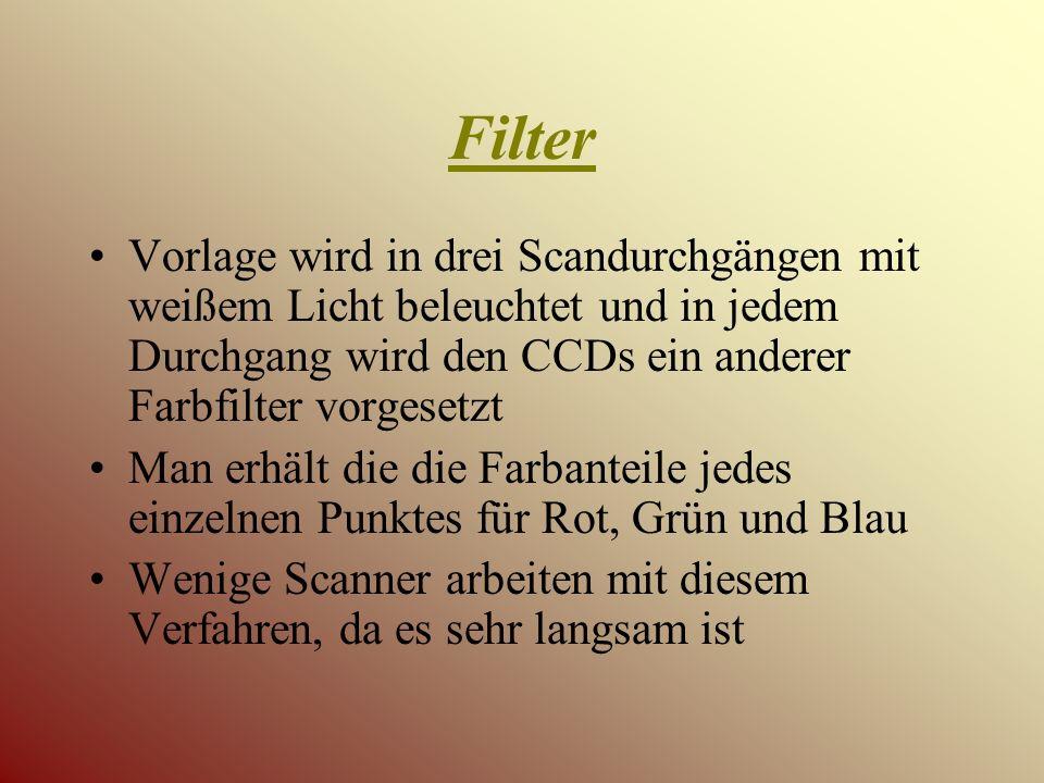 Filter Vorlage wird in drei Scandurchgängen mit weißem Licht beleuchtet und in jedem Durchgang wird den CCDs ein anderer Farbfilter vorgesetzt.