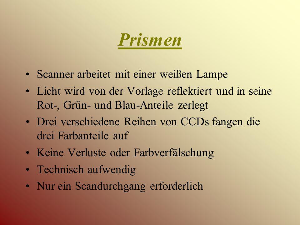 Prismen Scanner arbeitet mit einer weißen Lampe