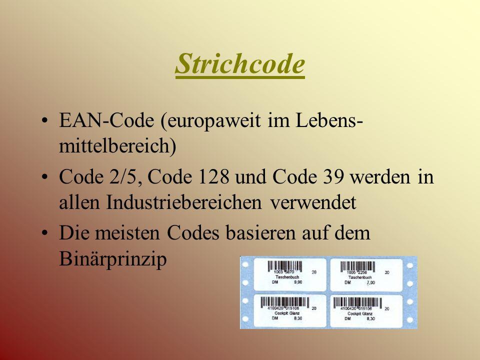Strichcode EAN-Code (europaweit im Lebens-mittelbereich)
