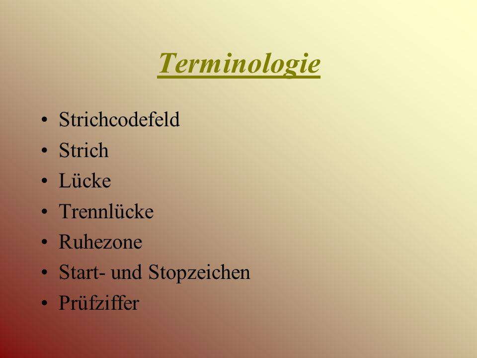 Terminologie Strichcodefeld Strich Lücke Trennlücke Ruhezone