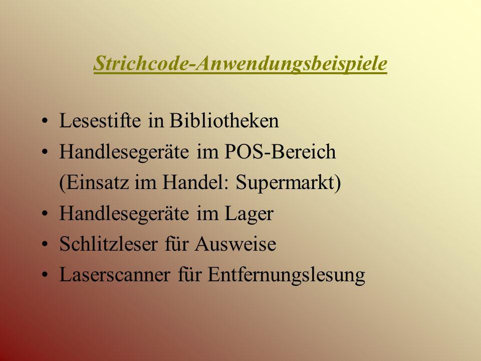 Strichcode-Anwendungsbeispiele