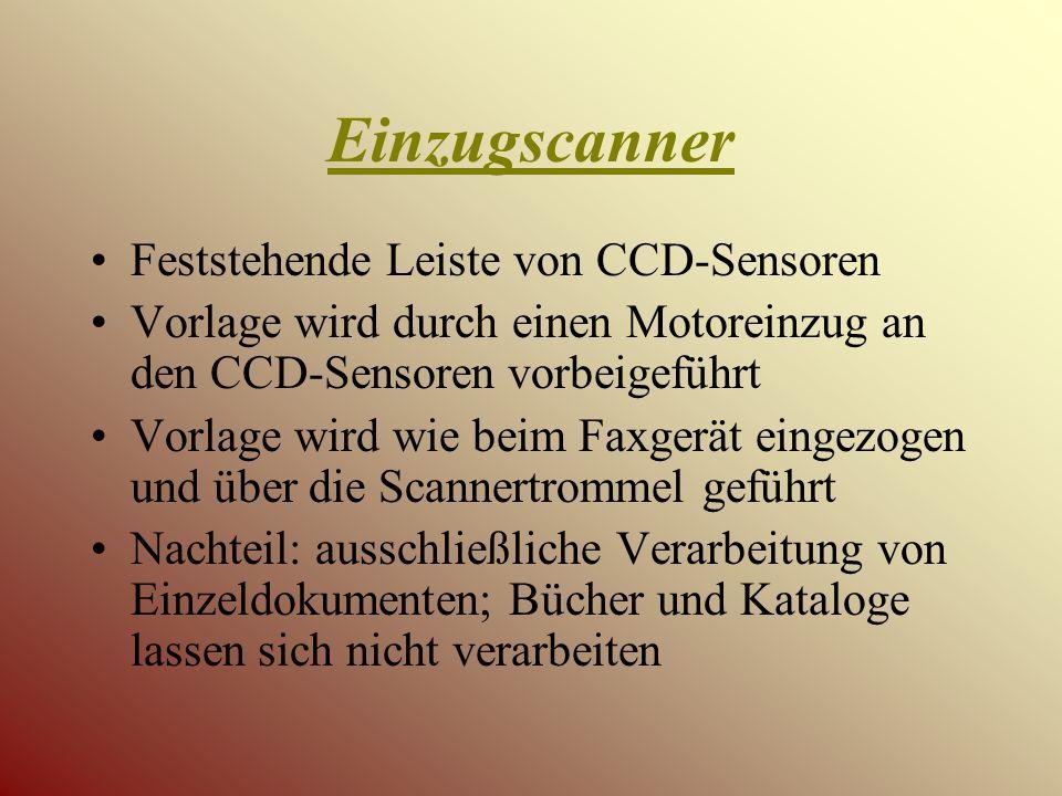 Einzugscanner Feststehende Leiste von CCD-Sensoren