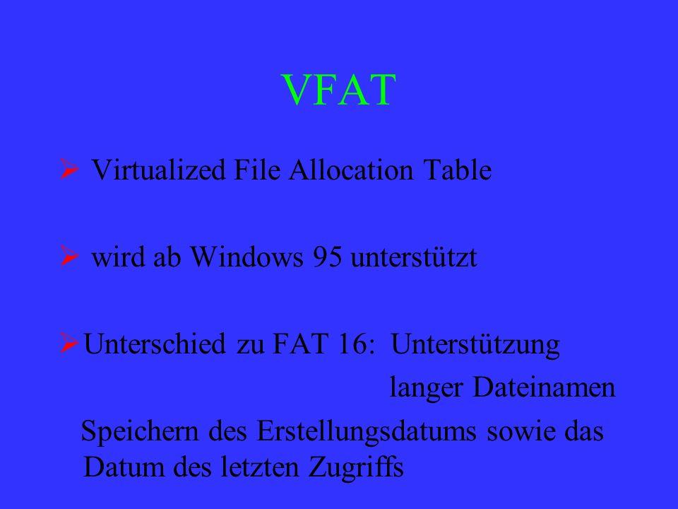 VFAT Virtualized File Allocation Table wird ab Windows 95 unterstützt