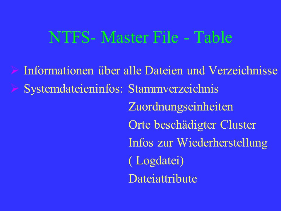 NTFS- Master File - Table