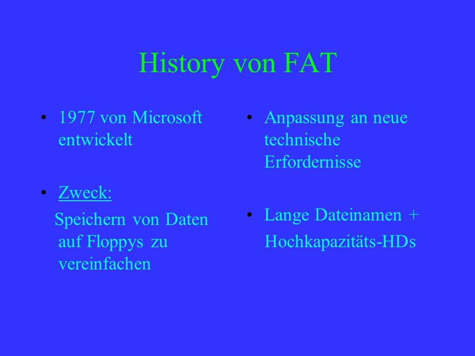 History von FAT 1977 von Microsoft entwickelt Zweck: