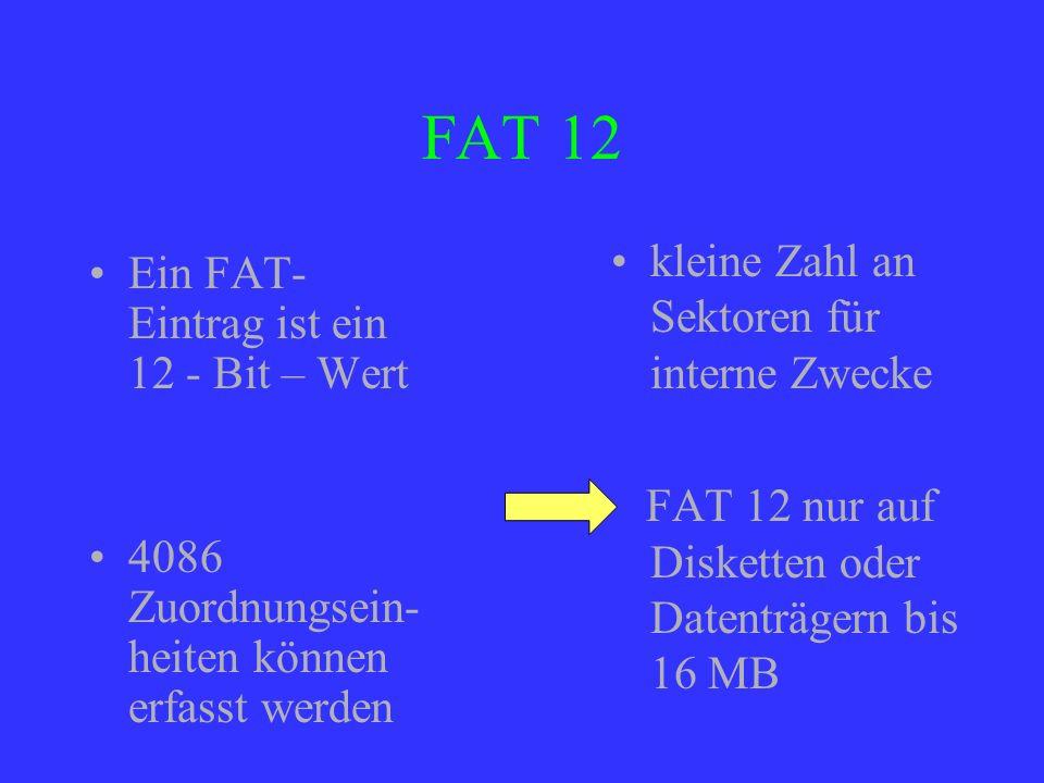 FAT 12 kleine Zahl an Sektoren für interne Zwecke