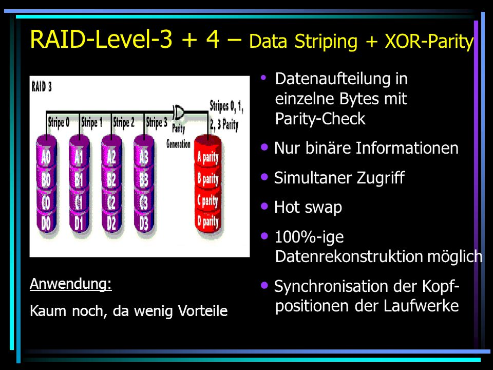 RAID-Level-3 + 4 – Data Striping + XOR-Parity