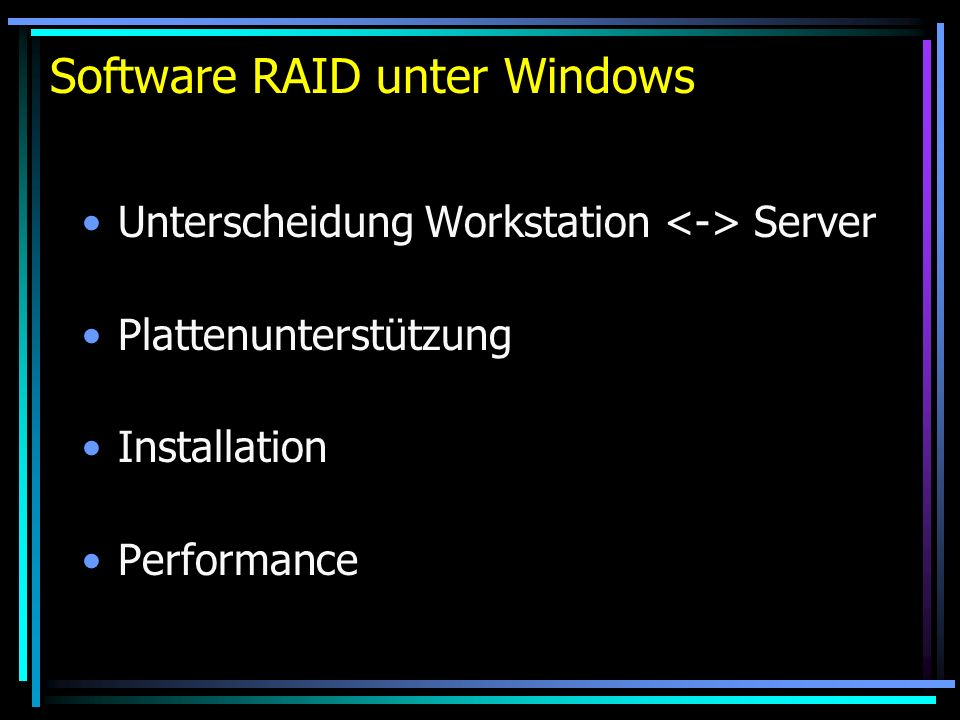 Software RAID unter Windows