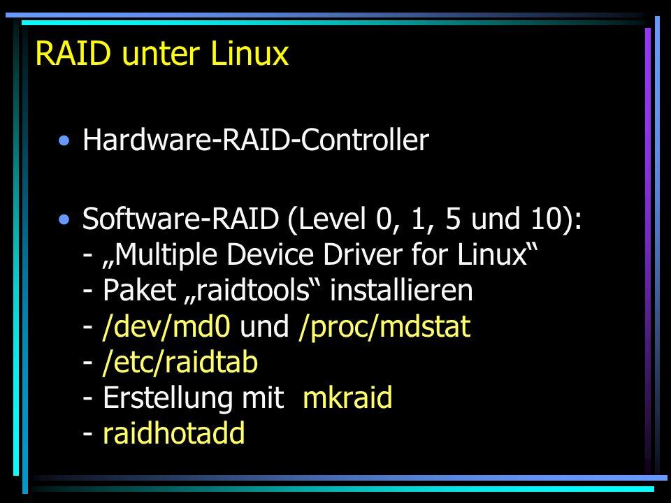 RAID unter Linux Hardware-RAID-Controller