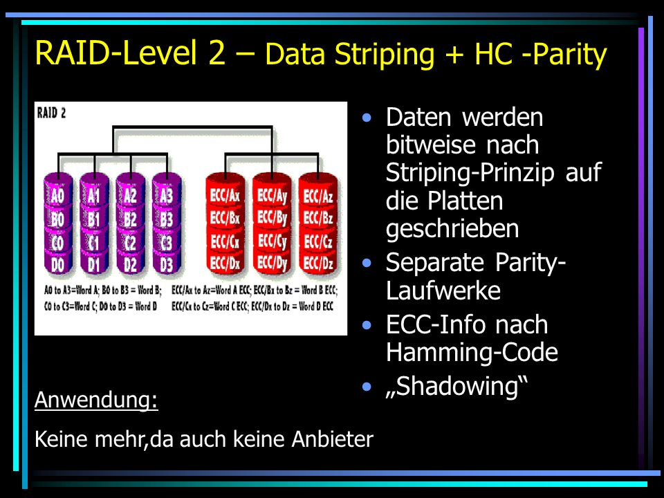 RAID-Level 2 – Data Striping + HC -Parity