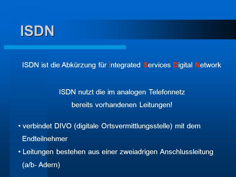 ISDN ISDN ist die Abkürzung für Integrated Services Digital Network