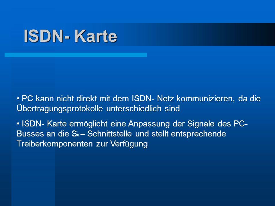 ISDN- Karte PC kann nicht direkt mit dem ISDN- Netz kommunizieren, da die Übertragungsprotokolle unterschiedlich sind.