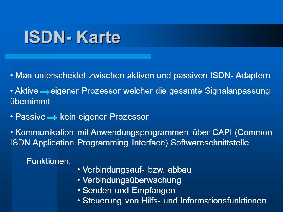 ISDN- Karte Man unterscheidet zwischen aktiven und passiven ISDN- Adaptern.