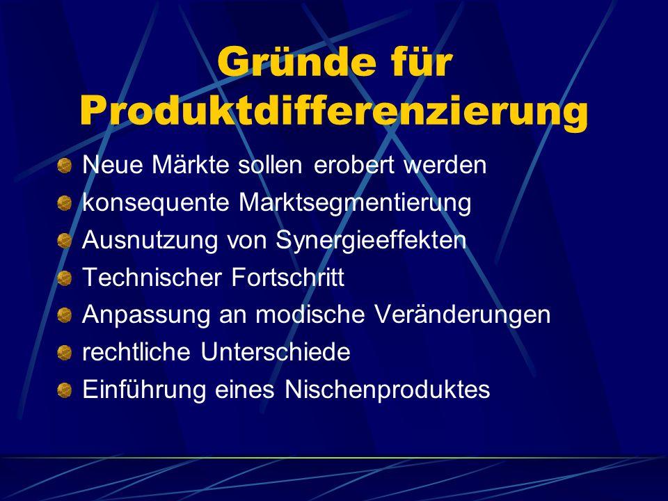 Gründe für Produktdifferenzierung