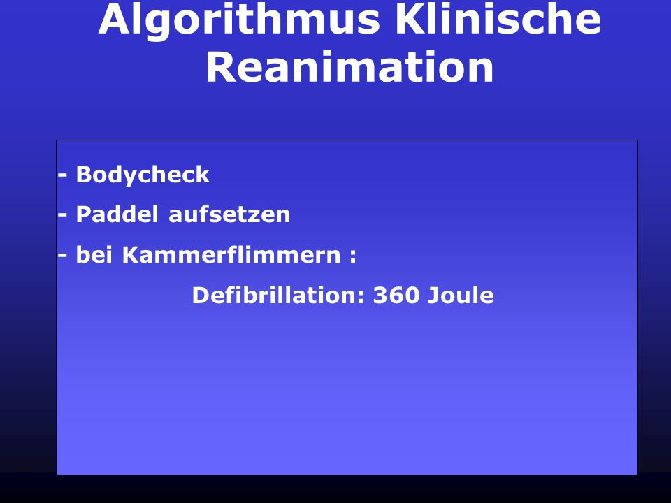 Algorithmus Klinische Reanimation