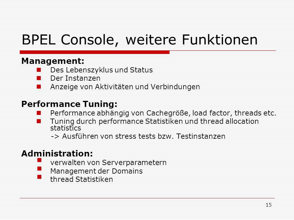 BPEL Console, weitere Funktionen