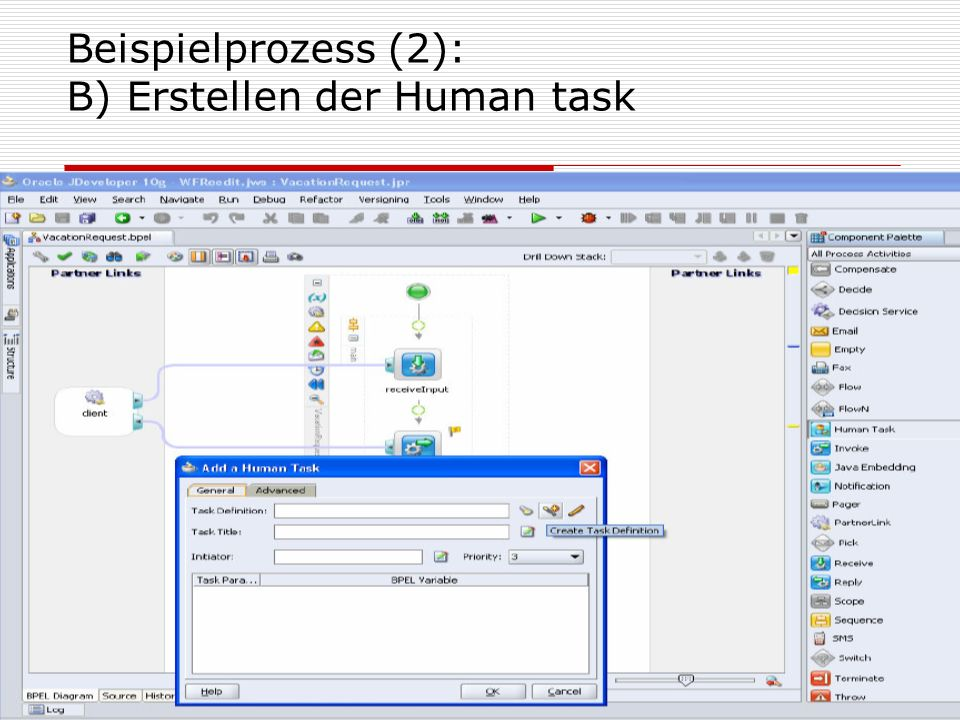 Beispielprozess (2): B) Erstellen der Human task
