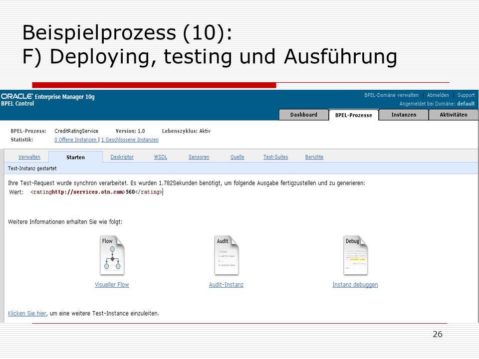 Beispielprozess (10): F) Deploying, testing und Ausführung