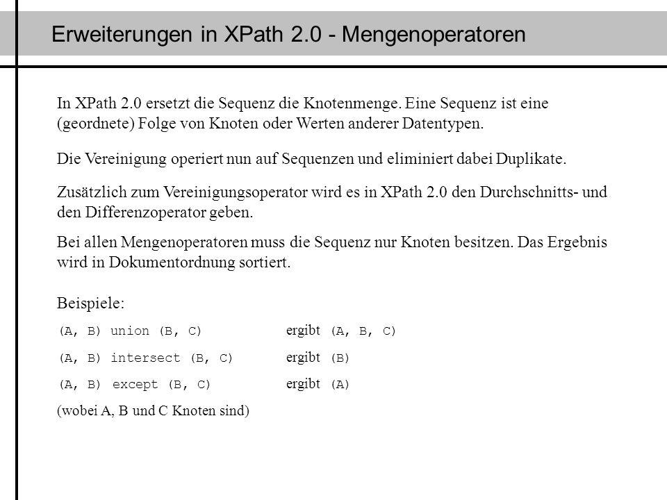 Erweiterungen in XPath 2.0 - Mengenoperatoren