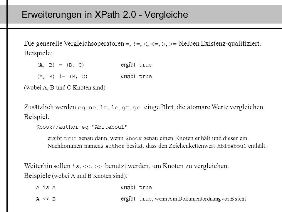 Erweiterungen in XPath 2.0 - Vergleiche