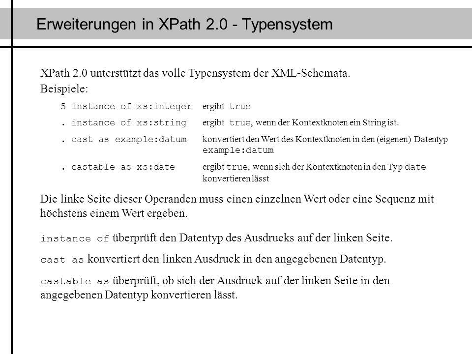Erweiterungen in XPath 2.0 - Typensystem
