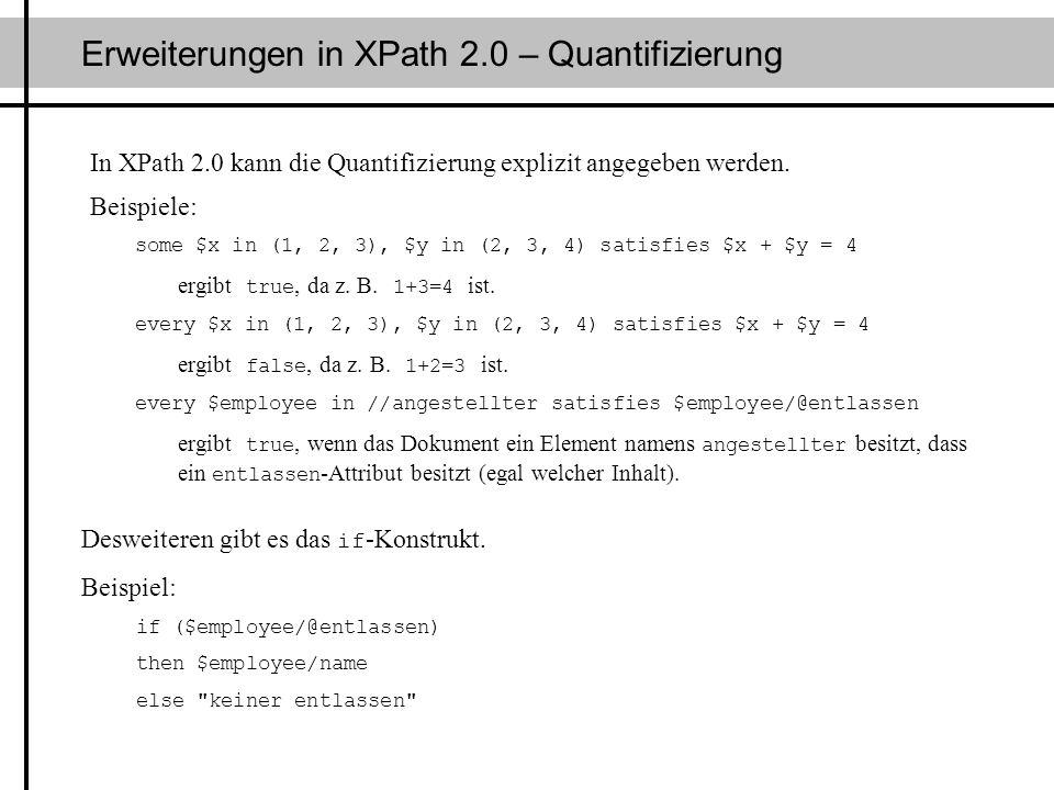 Erweiterungen in XPath 2.0 – Quantifizierung