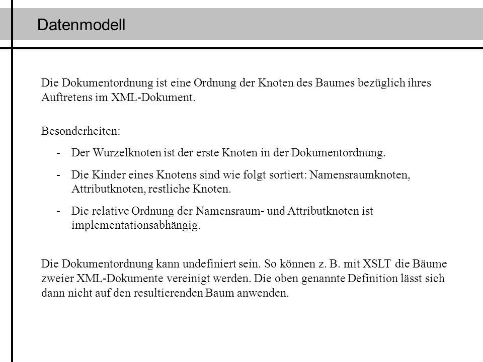 DatenmodellDie Dokumentordnung ist eine Ordnung der Knoten des Baumes bezüglich ihres Auftretens im XML-Dokument.